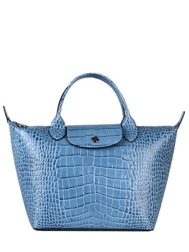 Longchamp Le pliage cuir croco Sac porté main Bleu