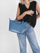 Longchamp Le pliage cuir croco Sac porté main Bleu-vue-porte