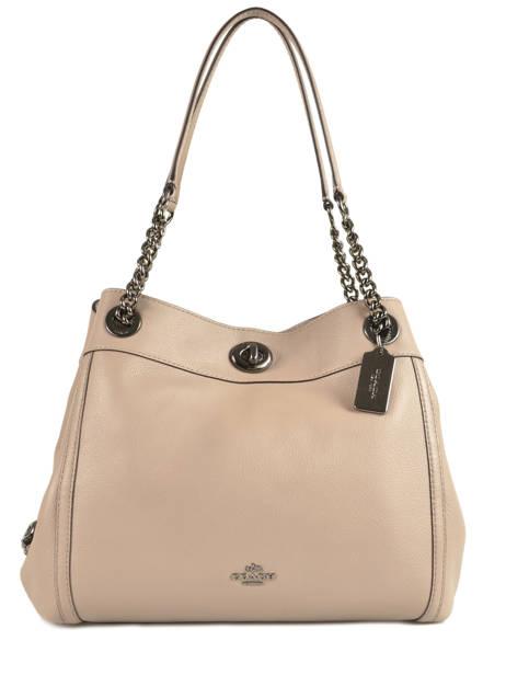Sac Shopping Edie Cuir Coach Beige edie 36855