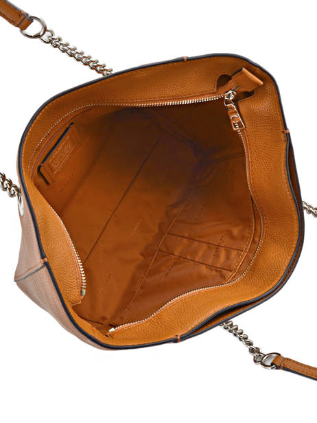 Shoppingtas Turnlock Chain Tote Leder Coach Bruin tote 57107 ander zicht 5