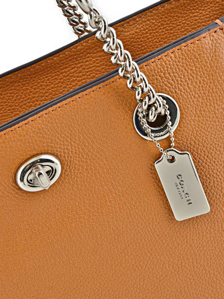 Shoppingtas Turnlock Chain Tote Leder Coach Bruin tote 57107 ander zicht 1