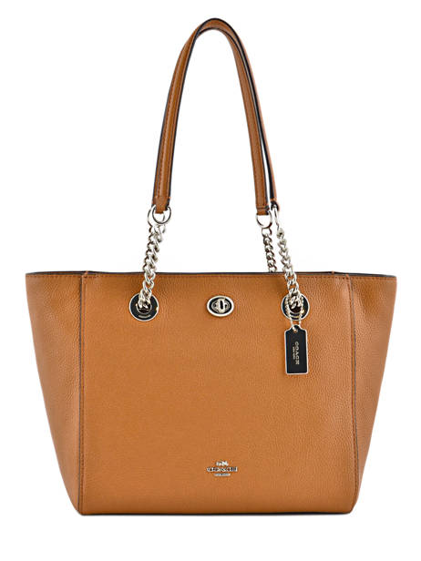Cabas Turnlock Chain Tote Cuir Coach Marron tote 57107