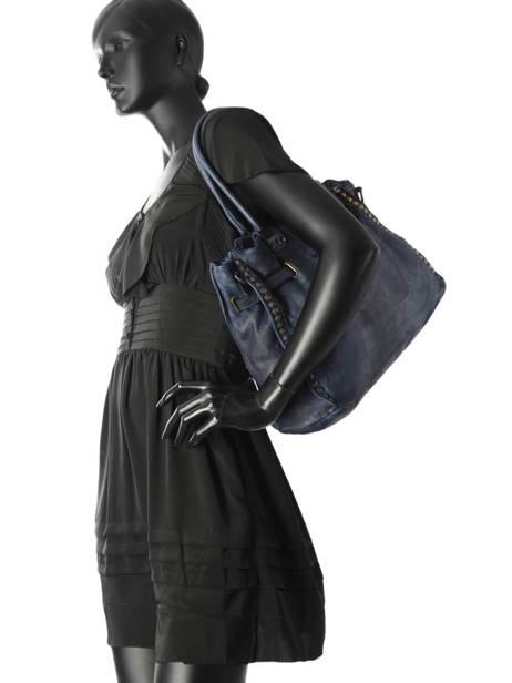 Sac Shopping Cuir Milano Bleu dewashed DE17115 vue secondaire 2