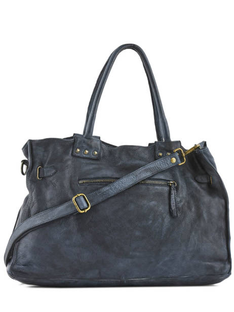 Sac Shopping Cuir Milano Bleu dewashed DE17115 vue secondaire 3