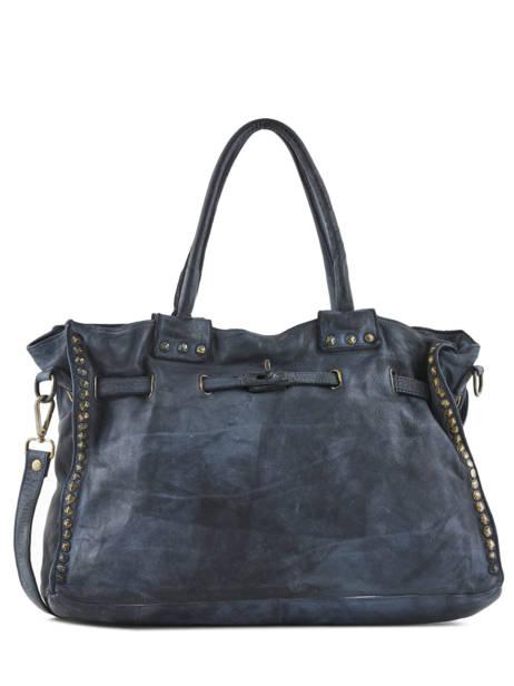 Sac Shopping Cuir Milano Bleu dewashed DE17115
