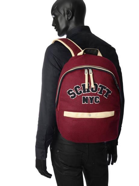 Sac à Dos 1 Compartiment Schott Rouge college 18-62724 vue secondaire 3