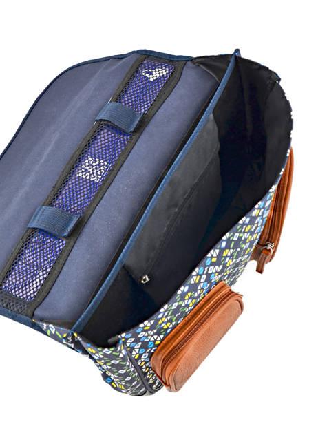 Cartable Garçon 2 Compartiments Cameleon Bleu vintage print boy VIB-CA38 vue secondaire 5