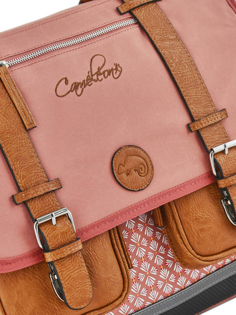Cartable 3 Compartiments Cameleon Rose vintage print girl VIG-CA41 vue secondaire 4