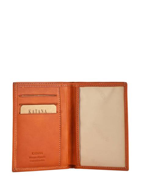 Porte-papiers Cuir Katana Orange vachette gras 853090 vue secondaire 1