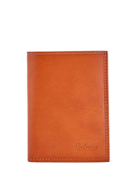 Porte-papiers Cuir Katana Orange vachette gras 853090