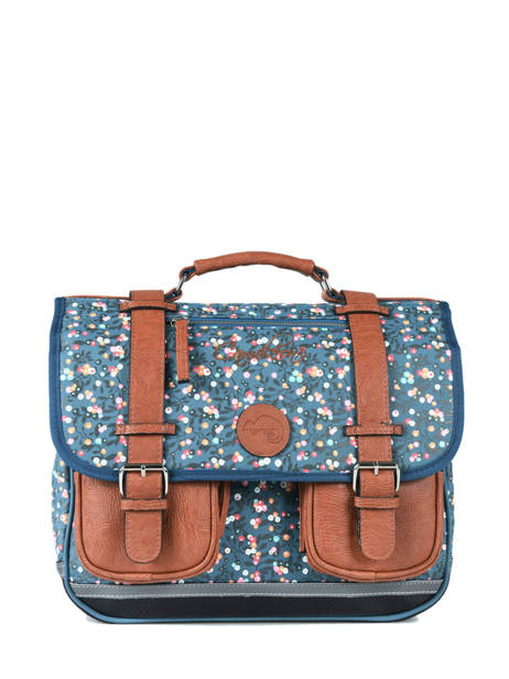 Cartable Fille 2 Compartiments Cameleon Bleu vintage print girl VIG-CA35