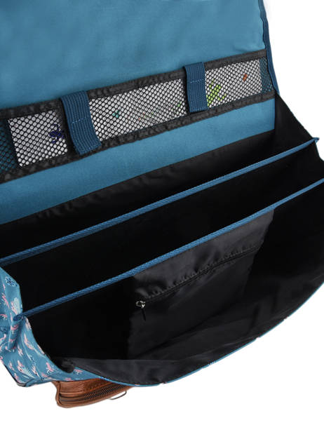 Cartable 3 Compartiments Cameleon Bleu vintage print girl VIG-CA41 vue secondaire 5