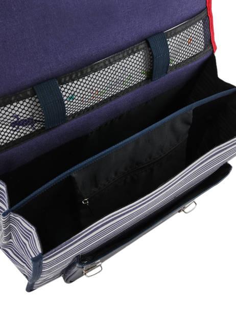 Boekentas Kind 2 Compartimenten Cameleon Blauw retro vinyl REV-CA35 ander zicht 6