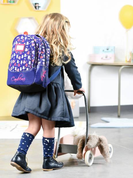 Sac à Dos Enfant 2 Compartiments Cameleon Bleu retro RET-SD31 vue secondaire 3