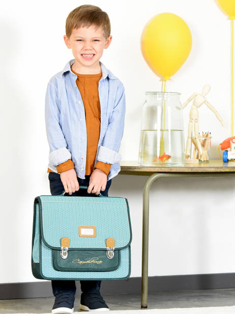 Cartable Enfant 2 Compartiments Cameleon Bleu retro RET-CA38 vue secondaire 4