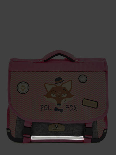 Cartable 2 Compartiments Réversible Pol fox Rose fille F-CA38R vue secondaire 6