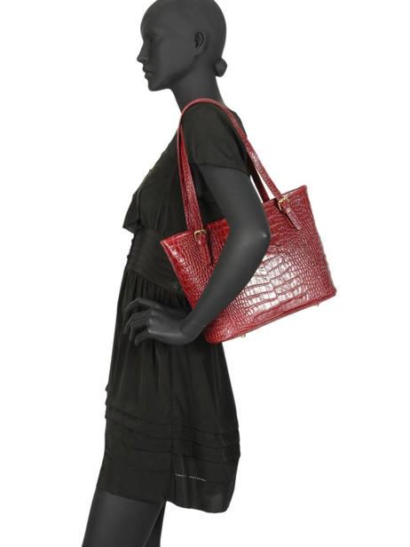 Shoppingtas Croco Leder Milano Rood croco CR15013 ander zicht 1