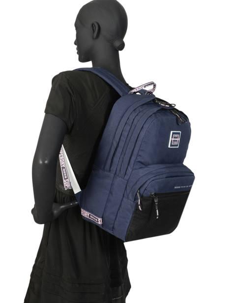 Sac à Dos 2 Compartiments Superdry Bleu backpack woomen W9100005 vue secondaire 3