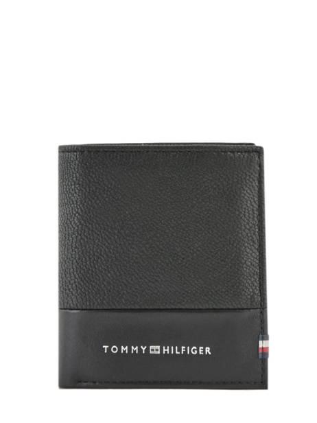 Portefeuille Leder Tommy hilfiger Zwart textured AM05649