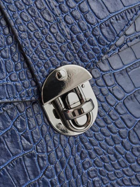Sac à Main Croco Cuir Milano Bleu croco CR19061N vue secondaire 1