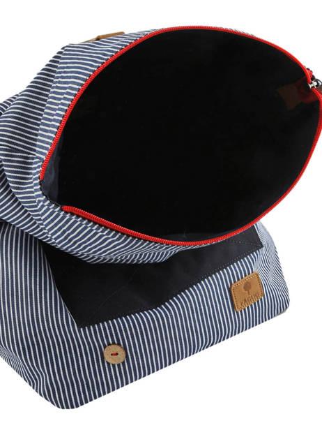 Sac à Dos Tricolor Faguo Noir stripes denim 20LU0101 vue secondaire 4