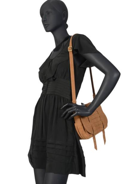 Cross Body Tas Vintage Leder Mila louise Bruin vintage 3017VBS ander zicht 2