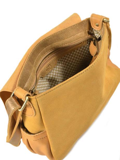 Cross Body Tas Vintage Leder Mila louise Geel vintage 3017CVS ander zicht 4