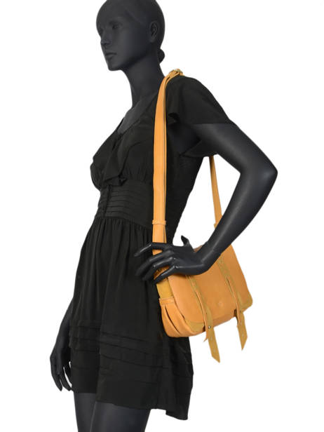 Cross Body Tas Vintage Leder Mila louise Geel vintage 3017CVS ander zicht 2