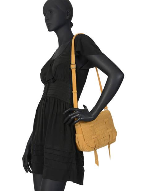 Cross Body Tas Vintage Leder Mila louise Geel vintage 3017VBS ander zicht 2
