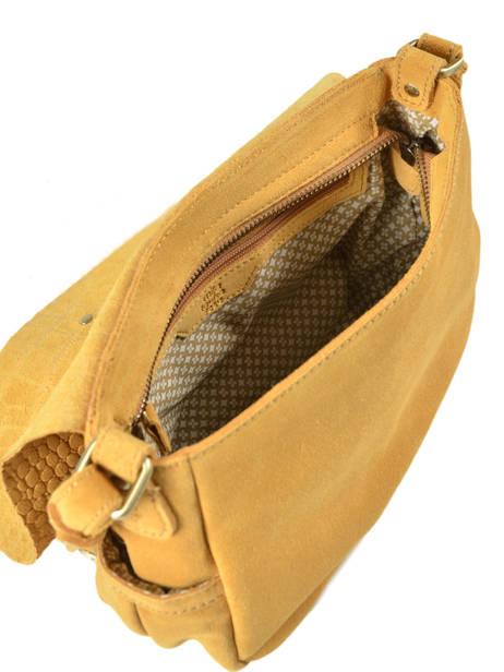 Cross Body Tas Vintage Leder Mila louise Geel vintage 3017VBS ander zicht 4