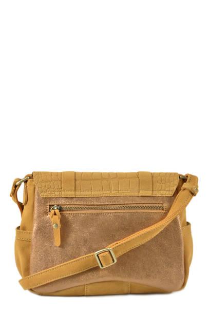 Cross Body Tas Vintage Leder Mila louise Geel vintage 3017VBS ander zicht 3