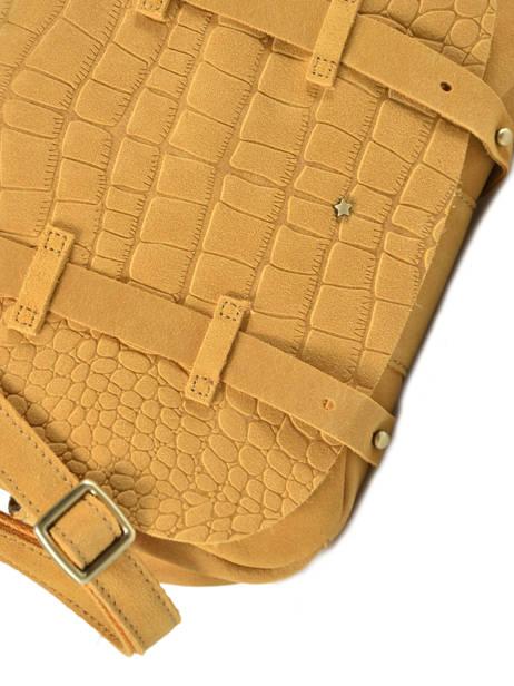 Cross Body Tas Vintage Leder Mila louise Geel vintage 3017VBS ander zicht 1