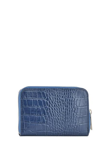 Porte-monnaie/ Porte Cartes Cuir Milano Bleu croco CR19043N vue secondaire 2
