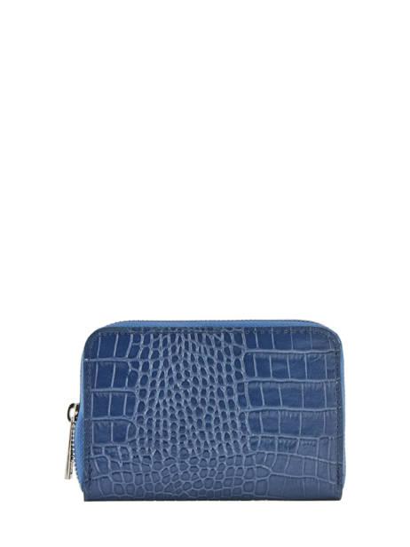 Porte-monnaie/ Porte Cartes Cuir Milano Bleu croco CR19043N