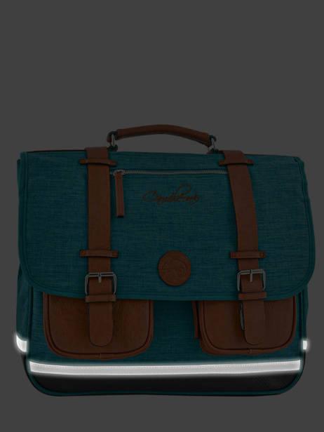 Boekentas Kind 2 Compartimenten Cameleon Blauw vintage chine VIN-CA38 ander zicht 6