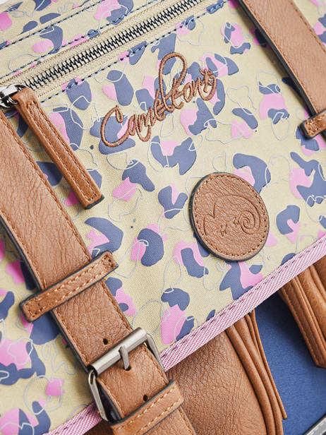 Boekentas Meisje 3 Compartimenten Cameleon Veelkleurig vintage print girl VIG-CA41 ander zicht 1