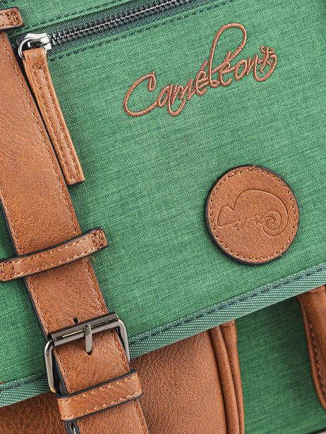 Boekentas Kind 2 Compartimenten Cameleon Groen vintage chine VIN-CA35 ander zicht 1