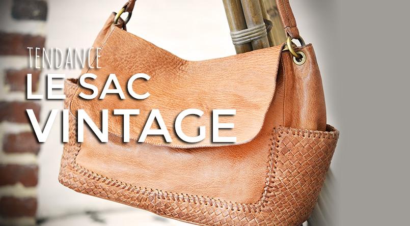 sac vintage cuir naturel